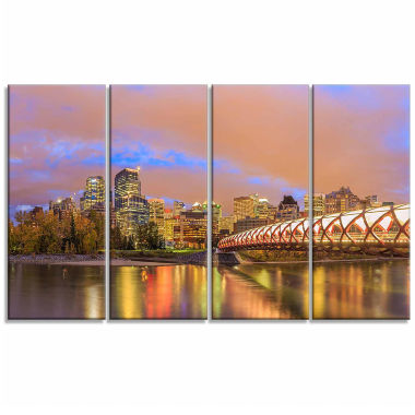 Designart Calgary At Night Cityscape Photography Canvas Print - 4 Panels
