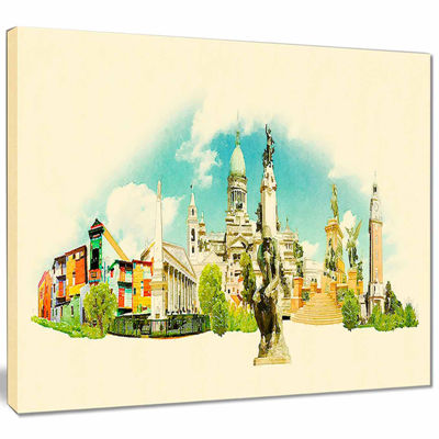 Designart Buenos Aires Panoramic View Cityscape Watercolor Canvas Print
