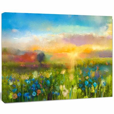 Designart Sunset Meadow Landscape Contemporary Canvas Art Print