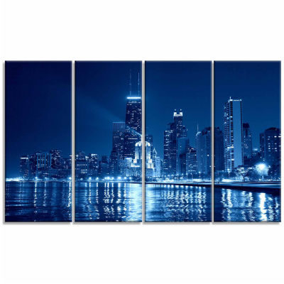 Designart Blue Chicago Skyline Night Cityscape Photo Canvas Print - 4 Panels
