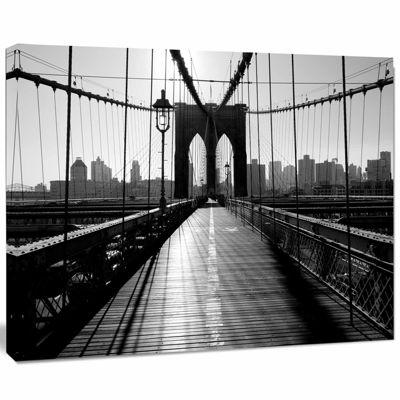 Design Art Dark Brooklyn Bridge Cityscape Photo Canvas Print