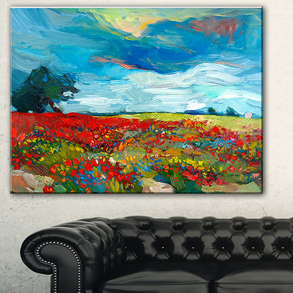 Designart Colorful Flower Fields Landscape Painting Canvas Print