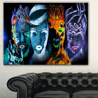 Designart Earth Fire Air And Water Contemporary Portrait Canvas Print