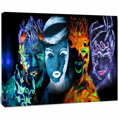 Design Art Earth Fire Air And Water Contemporary Portrait Canvas Print