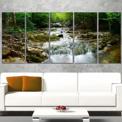 Designart Natural Spring Waterfall Landscape Photography Canvas Print - 5 Panels