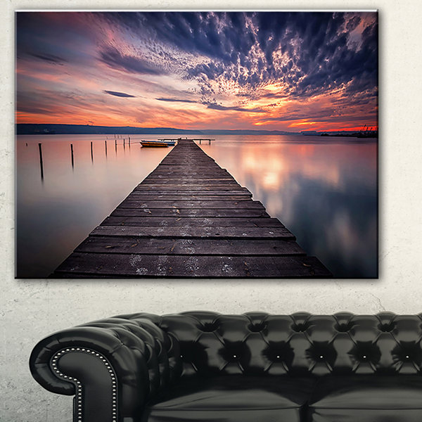 Designart Colorful Sunset Over Lake Landscape Photography Canvas Print