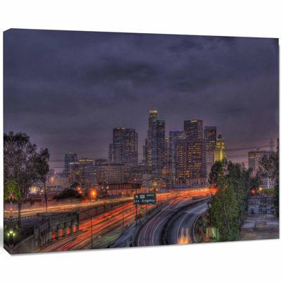 Designart Los Angeles Dark Skyline Cityscape PhotoCanvas Print