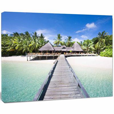 Design Art Beach With Coconut Palm Trees Landscape Photo Canvas Art
