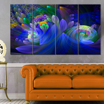 Design Art Blue Fractal Flower Bouquet Canvas Art Print - 4 Panels