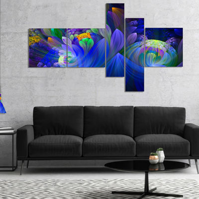 Designart Blue Fractal Flower Bouquet Canvas Art Print - 5 Panels