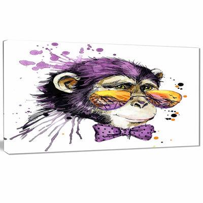 Designart Cool Monkey Animal Kids Art Painting Canvas Art work