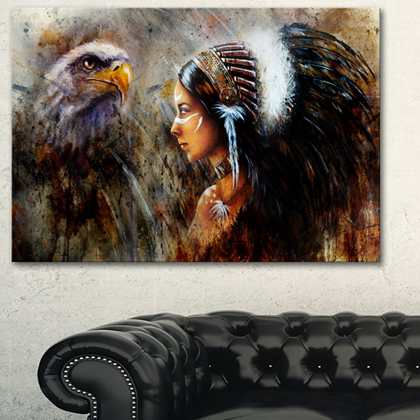Designart Indian Woman With Feather Headdress Indian Canvas Artwork