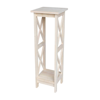 "36"" X-Sided Unfinished Wood Plant Stand"