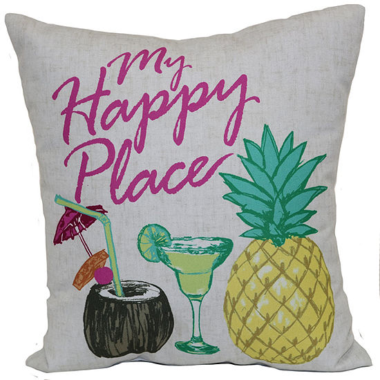 Outdoor Oasis My Happy Place Square Outdoor Pillow