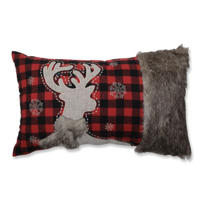 Pillow Perfect Fur Reindeer 20X12 Rectangular Throw Pillow