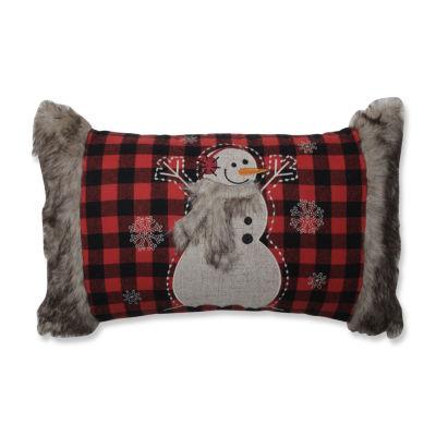Pillow Perfect Fur Snowman 20X12 Rectangular Throw Pillow