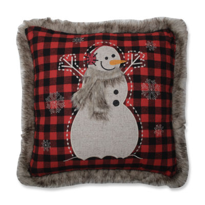 Pillow Perfect Fur Snowman Square 18X18 Square Throw Pillow