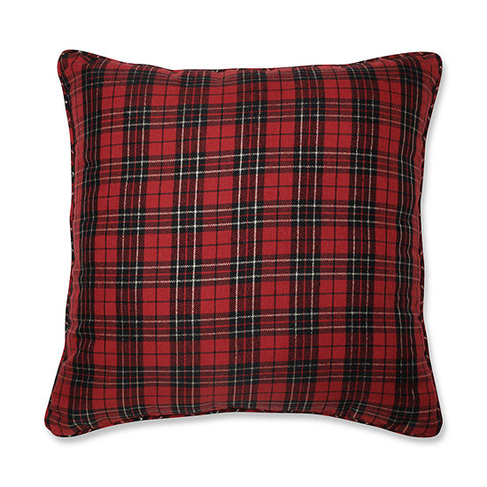 Pillow Perfect Holiday Plaid 20X20 Square Throw Pillow