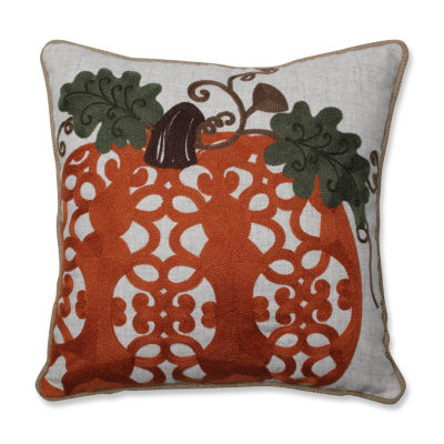 Pillow Perfect Fancy Embroidered Pumpkin 16X16 Square Throw Pillow