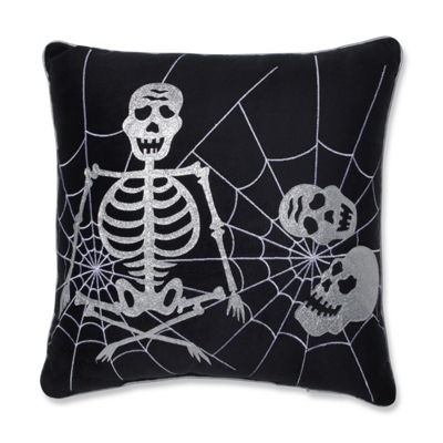 Pillow Perfect Skeleton in Web 17X17 Square Throw Pillow