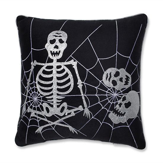 Pillow Perfect Skeleton in Web 17X17 Square Throw Pillow