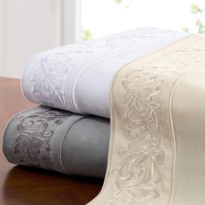 400tc Leaf Embroidery Sateen Sheet Set