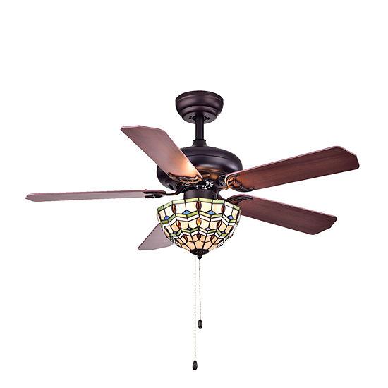 Doretta Tiffany-style Bowl 3-light 42-inch Ceiling Fan