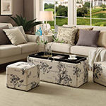 Convenience Concepts Sheridan Storage Bench w/ 2 Side Ottomans