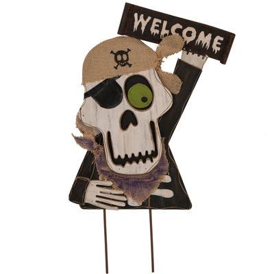Glitzhome Welcome Skull Holiday Yard Art
