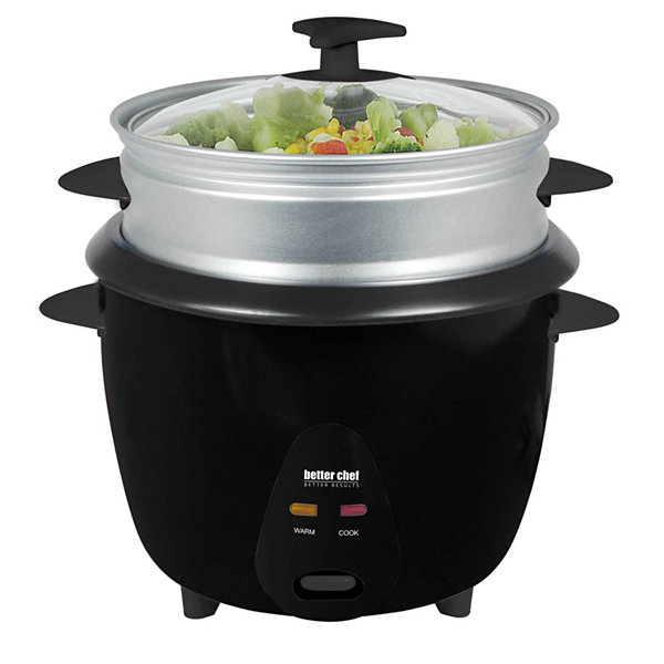 Better Chef 5 Cup Rice Cooker with Food Steamer Attachment