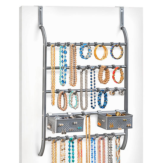Lynk Over Door Or Wall Mount Jewelry Organizer Rack With Hooks