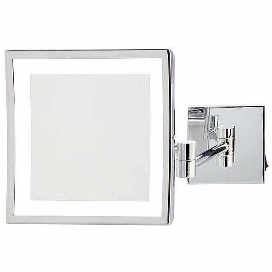 "Jerdon 8"" x 8"" 5X LED Lighted Wall Mirror"