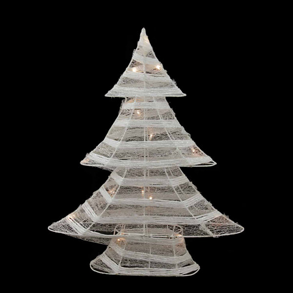 "24.5"" Battery Operated White and Silver Glittered LED Lighted Christmas Tree Table Top Decoration"""