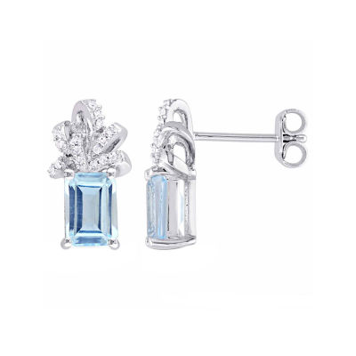 Laura Asley Genuine Blue Blue Topaz Sterling Silver Bow Ear Pins