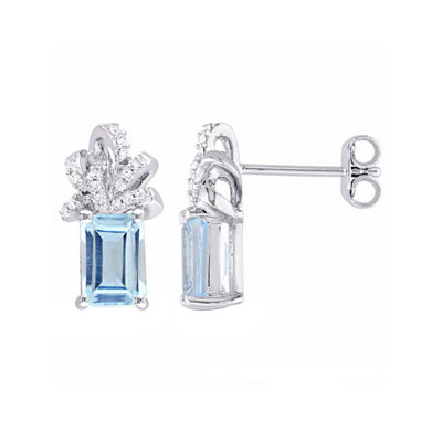 Laura Asley Genuine Blue Topaz Sterling Silver Bow Ear Pins