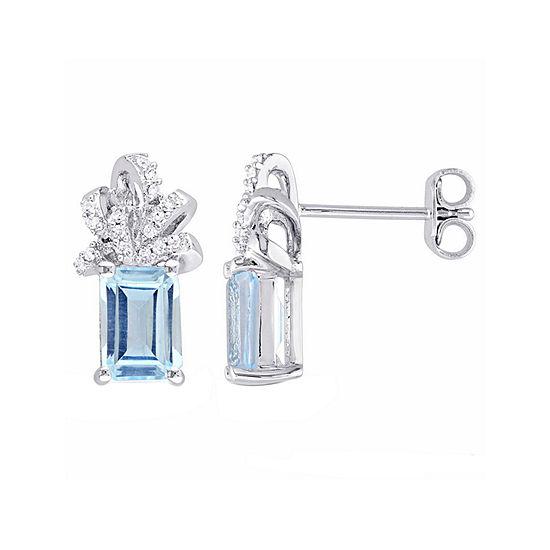 Laura Ashley Genuine Blue Topaz Sterling Silver Bow Ear Pins