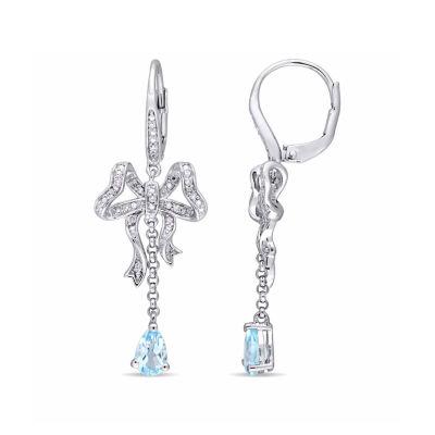 Laura Ashley Blue Topaz Sterling Silver Drop Earrings