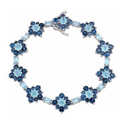 Laura Ashley Womens Blue Topaz Sterling Silver Tennis Bracelet