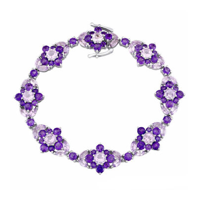Laura Asley Genuine Purple Amethyst Sterling Silver Flower 7.25 Inch Tennis Bracelet