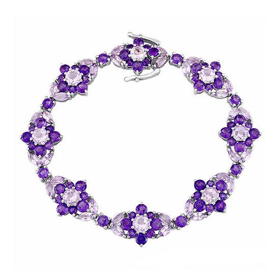 Laura Ashley Genuine Purple Amethyst Sterling Silver Flower 7.25 Inch Tennis Bracelet