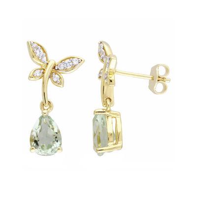 Laura Ashley Genuine Green Amethyst 18K Gold Over Silver Butterfly Drop Earrings