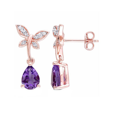 Laura Ashley Genuine Purple Amethyst 18K Gold Over Silver Butterfly Drop Earrings