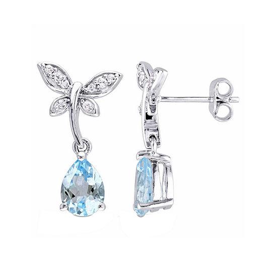 Laura Ashley Genuine Blue Topaz Sterling Silver Butterfly Drop Earrings