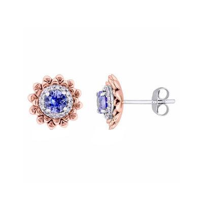 Laura Ashley Genuine Purple Tanzanite 10K Gold Over Silver Flower Ear Pins
