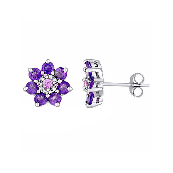 Laura Ashley Genuine Purple Amethyst Sterling Silver Flower Ear Pins