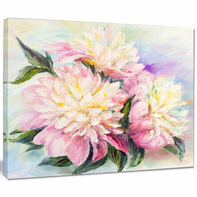 Designart Blooming Pink Peonies Floral Art CanvasPrint
