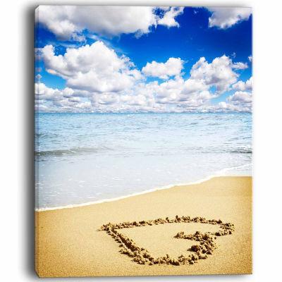 Design Art Massive Heart Drawn On Serene Beach Seascape Canvas Art Print