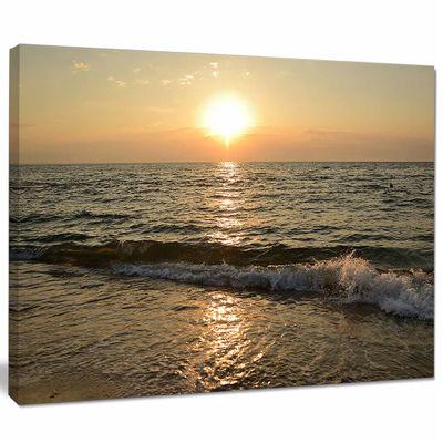 Designart Black Seascape In Morning Sunlight BeachPhoto Canvas Print