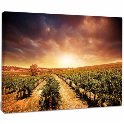 Design Art Vineyard With Stormy Sunset Wall Art Landscape