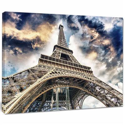Designart The Paris Eiffel Tower view From GroundCityscape Canvas Print
